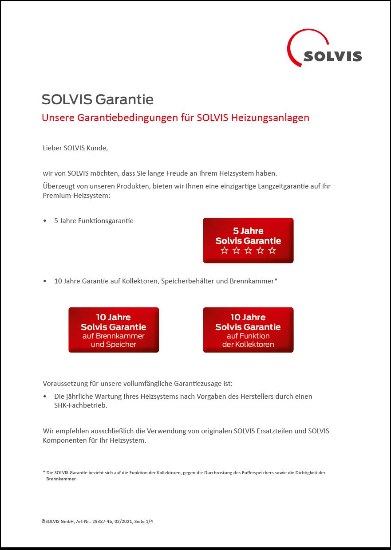 Solvis GmbH Garantieerklärung
