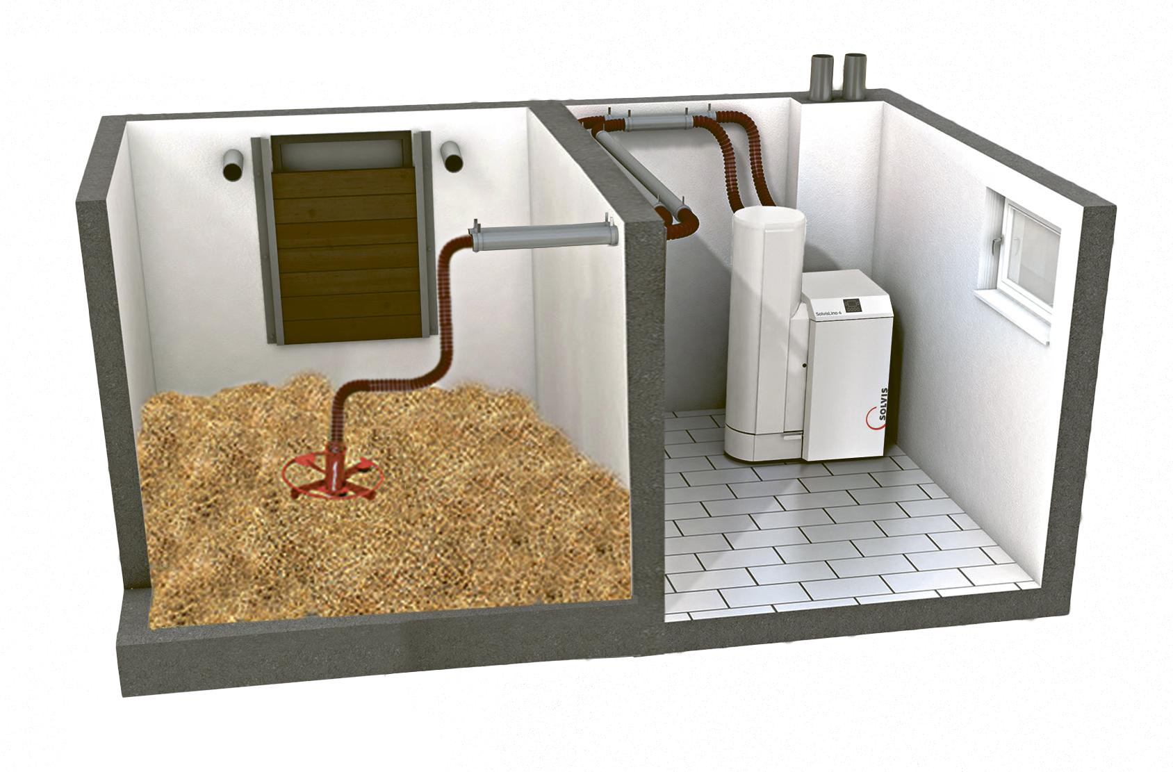 SolvisLino Pelletkessel Heizsystem Lagerraum mit Maulwurflager